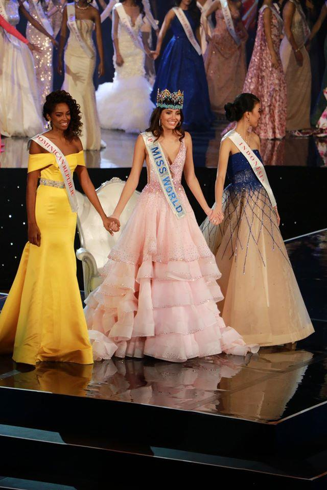 Miss World 2016 Top 3 finalists - Miss Indonesia, Miss Dominican Republic and Miss Puerto Rico