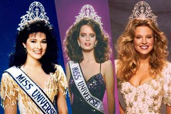 Irene Saez Miss Universe 1981 from Venezuela, Karen Dianne Baldwin Miss Universe 1982 from Canada, Lorraine Downes Miss Universe 1983 from New Zealand, Yvonne Ryding Miss Universe 1984 from Sweden, Deborah Carthy Deu Miss Universe 1985 from Puerto Rico, Bárbara Palacios Miss Universe 1986 from Venezuela, Cecilia Bolocco Miss Universe 1987 from Chile, Porntip Nakhirunkanok Miss Universe 1988 from Thailand, Angela Visser Miss Universe 1989 from Netherlands and Mona Grudt Miss Universe 1990 from Norway.