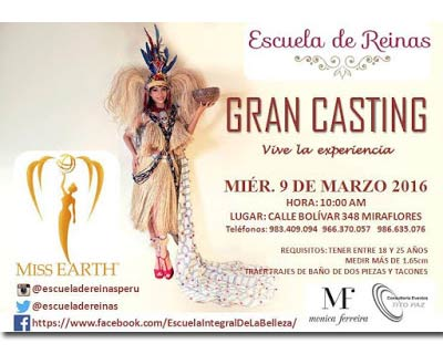 Road to Miss Earth Peru 2016 - the castings will start on 9 March 2016