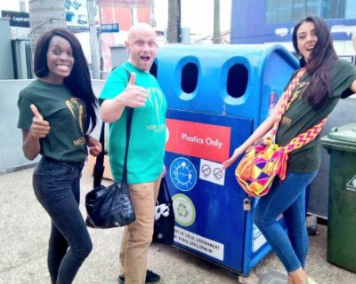 Miss Earth beauties implementing Trash in Bin Campaign