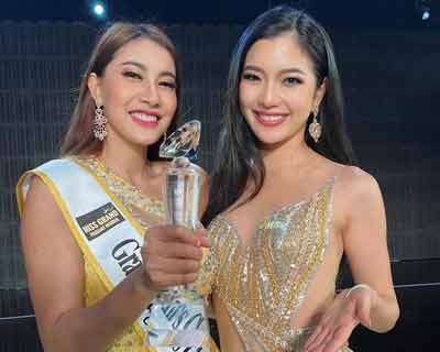 Cambodia's Chily Tevy and Scotland's Helen Maher win special awards by the press at Miss Grand International 2020