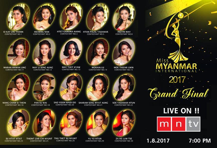Miss Myanmar International 2017 contestants