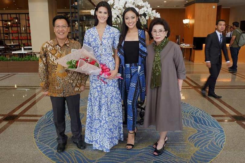 Reigning Queens Catriona Gray, Valeria Vazquez and Mariem Claret Velazco arrive for Puteri Indonesia 2019