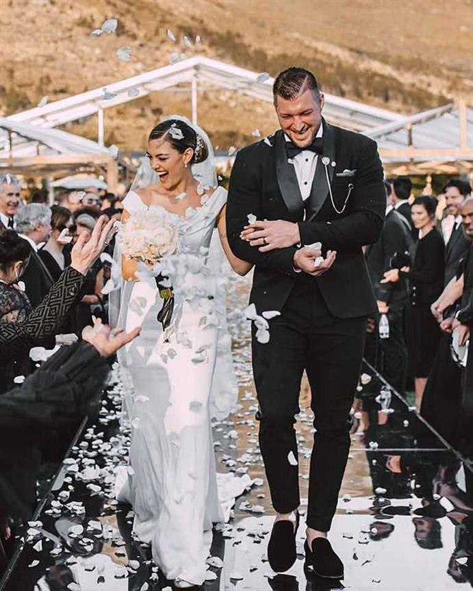 Former Miss Universe Demi Leigh Nel Peters marries Tim Tebow in an 'intimate sunset ceremony' in SA