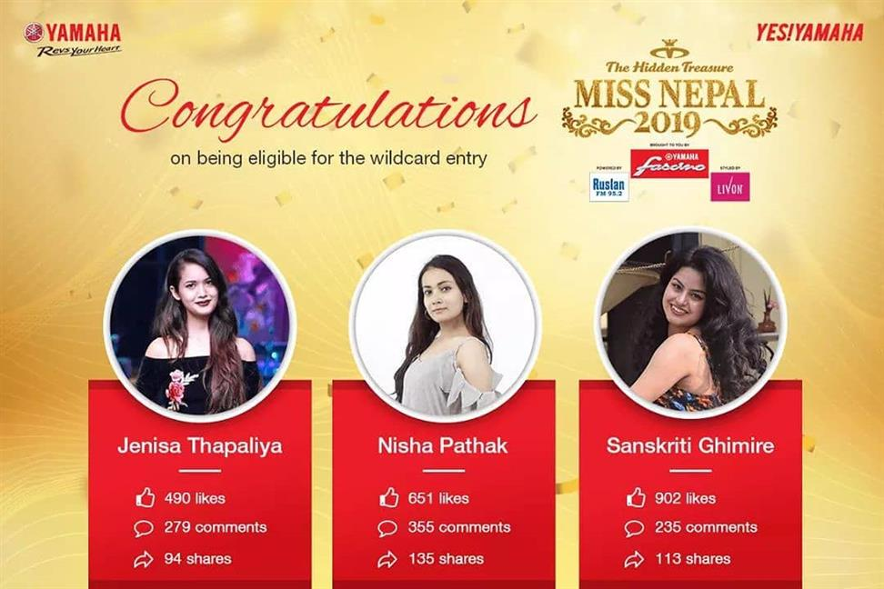 Miss Nepal 2019 Yamaha Wild Card Top 3 Finalists announced