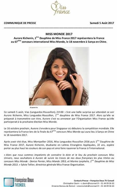 Aurore Kichenin to represent France at Miss World 2017 beauty pageant