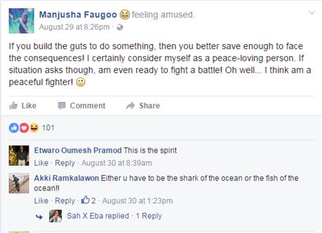 Manjusha Faugoo exposes the Mauritian Organisation on her Facebook Posts