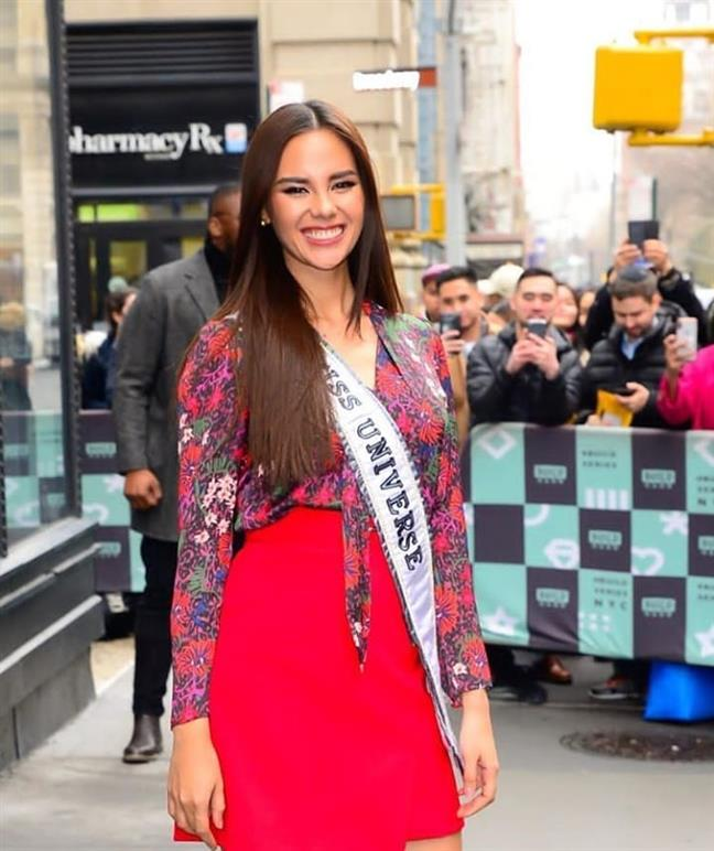 Miss Universe 2018 Catriona Gray wears Filipino Flag colours during the USA Media Tour