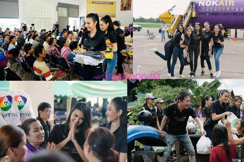 Ariska Putri Pertiwi along with Miss Grand International organization visited the flood victims at Phanna Nikhom District