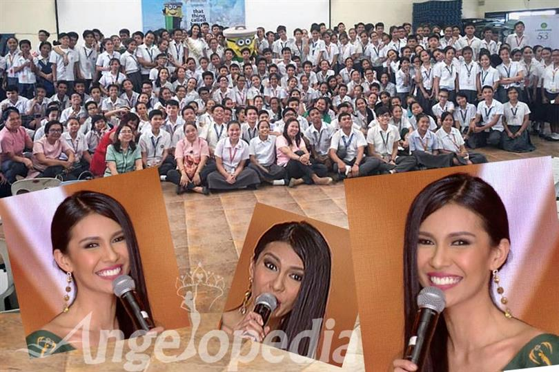 Miss Earth 2015 Angelia Ong celebrates anniversary with school kids