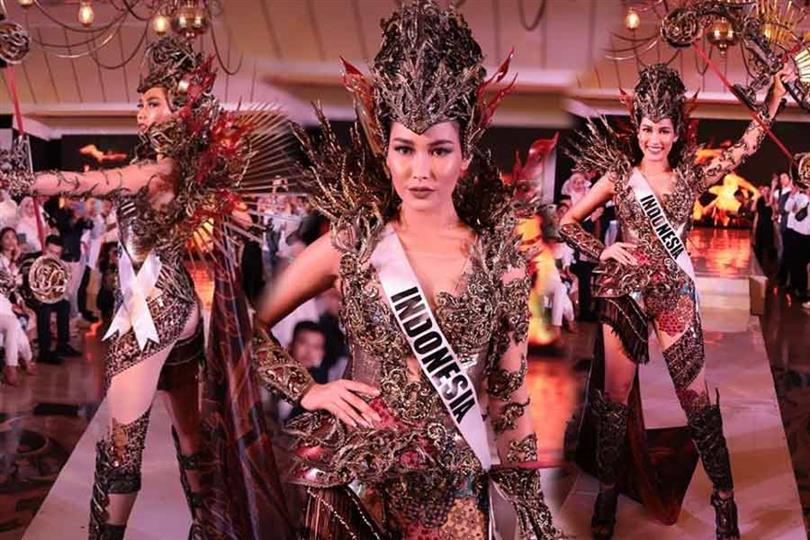 Indonesia's Frederika Alexis Cull introduces her Evening Gown and National Costume at the Press Presentation