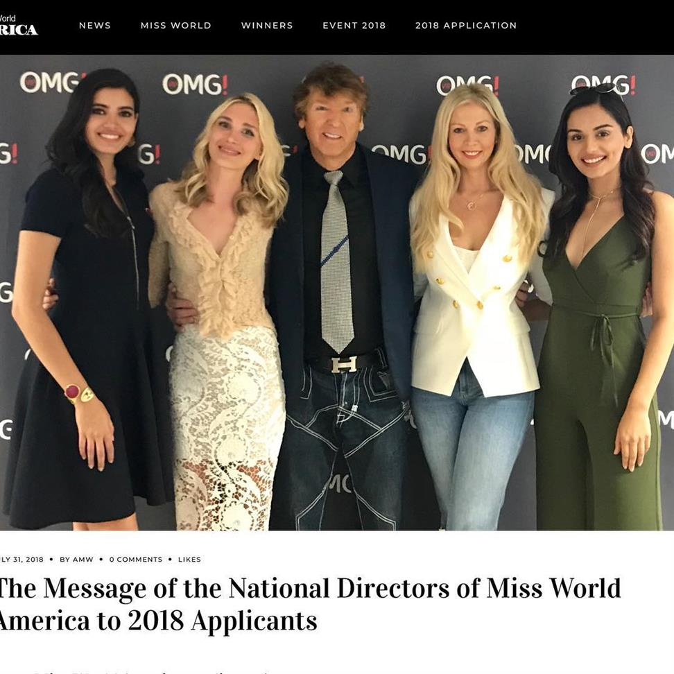 America's Miss World 2018 National Directors and Timeline revealed
