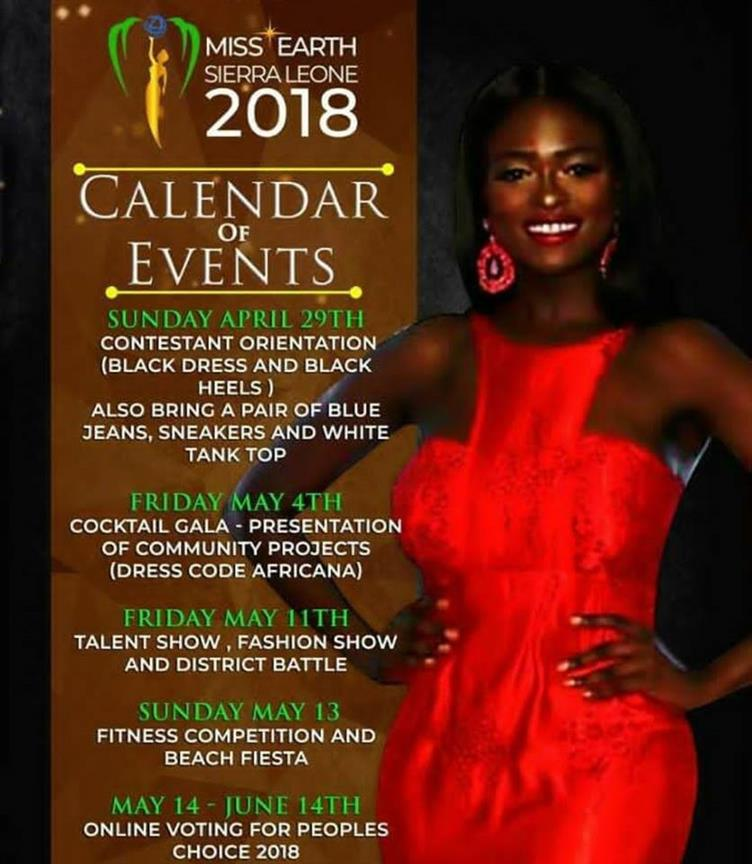 Here is Miss Earth Sierra Leone 2018 Schedule of Events