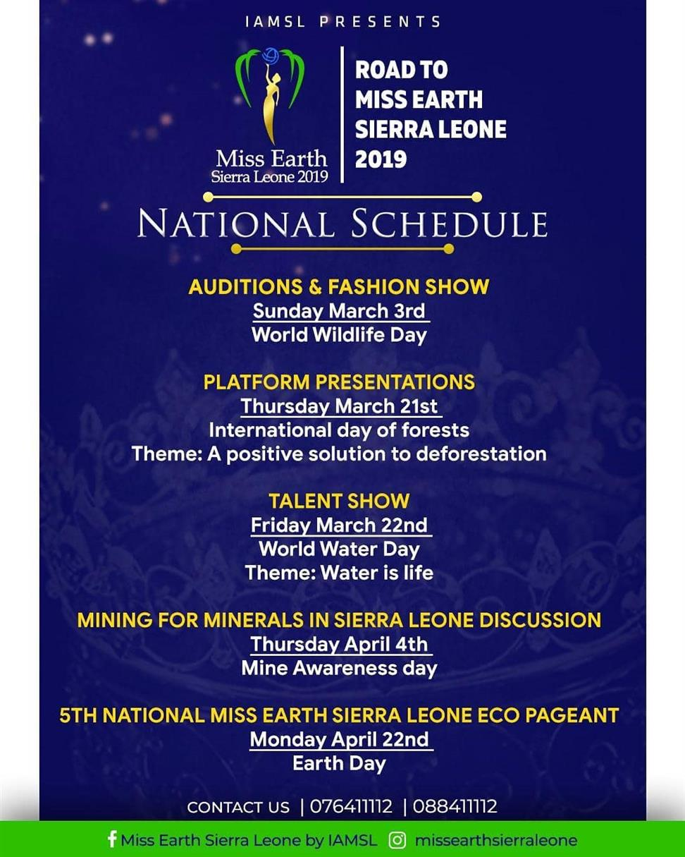 Miss Earth Sierra Leone 2019 Schedule of events