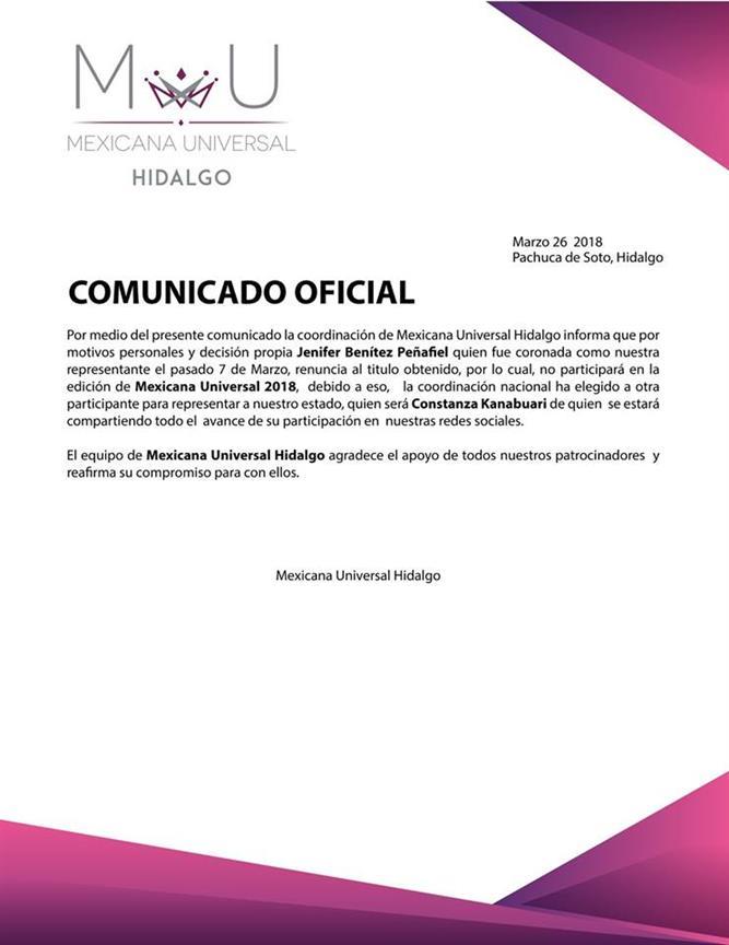 Mexicana Universal Hidalgo 2017 Jenyfer Benítez replaced by Constanza Kanabuari